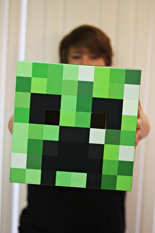 Minecraft Creeper costume. Or for hanging. Maybe on canvas, using paint samples.