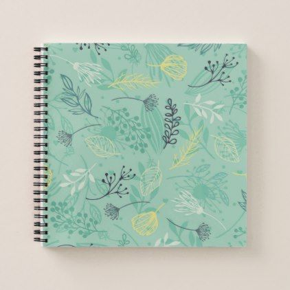 Ditsy Forest Herbs Blue Background Guestbook Notebook - simple clear clean design style unique diy