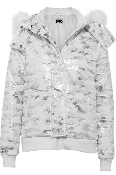Topshop Sno - Queen B Faux Fur-trimmed Metallic Camouflage-print Ski Jacket - Silver - UK