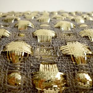 weave structure: plain weave with floats warp fiber content: metallic and wool weft fiber content: metallic and wool