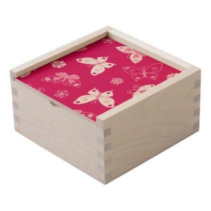 Butterflies and flowers wooden keepsake box - floral gifts flower flowers gift ideas