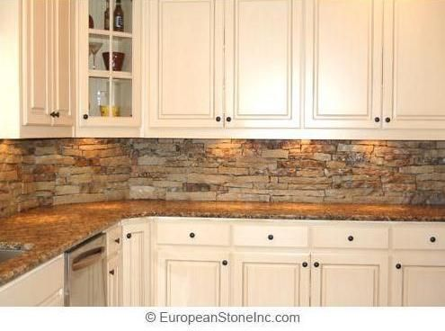 White cabinets with stone tile backsplash often pictured with lighter, stone -look/granite counters. Pictures Of Stacked Stone Backsplash - Kitchen ...