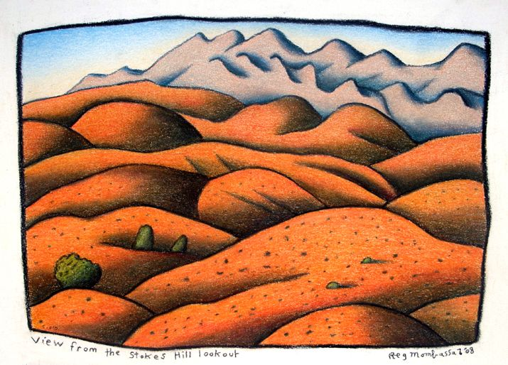 View from Stokes Hill lookout Charcoal and coloured pencil on paper 28 x 44cm 2005 - Reg Mombassa