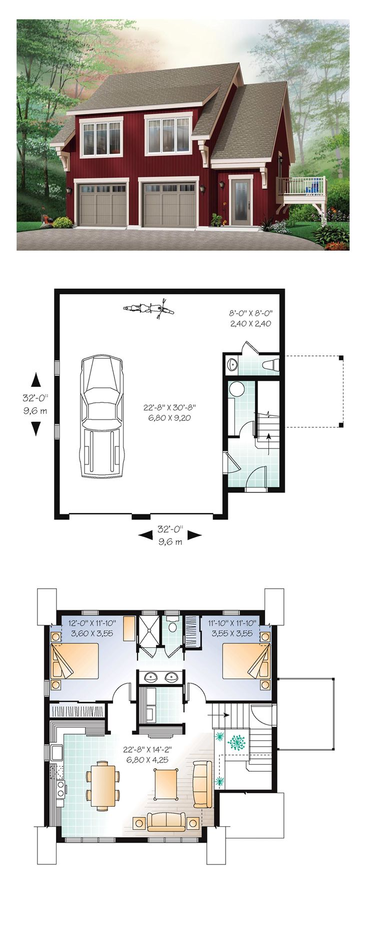 lovely small garage apartment plans #3: Garage Apartment Plan 64817 | Total Living Area: 1068 sq. ft., 2