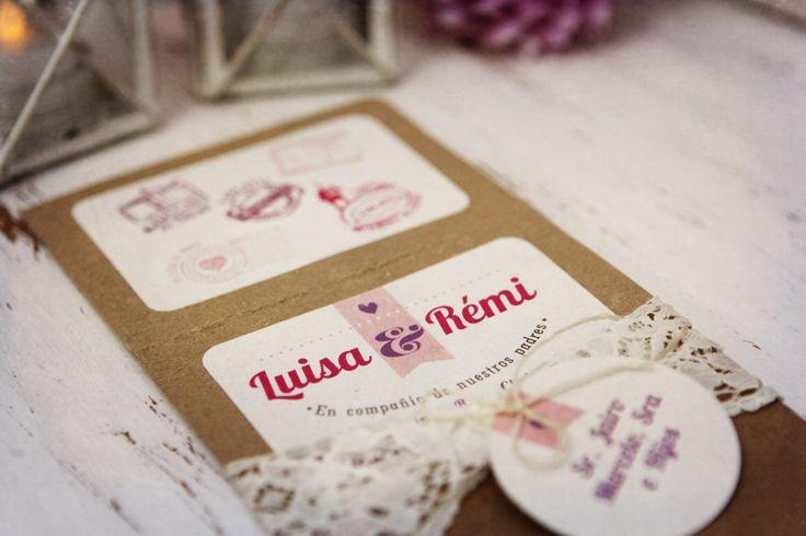 tarjeta de matrimonio rustica con cierre en encaje
