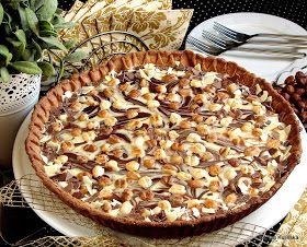 tarta , z czekoladą , z orzechami , czekolada , ciasto , kruche , orzechy laskowe , przepisy , smaczna pyza , blog kulinarny , najsmaczniejsze , moje wypieki , domowe wypieki , cukiernia , słodkości , wspólne pieczenie , blogerzy razem