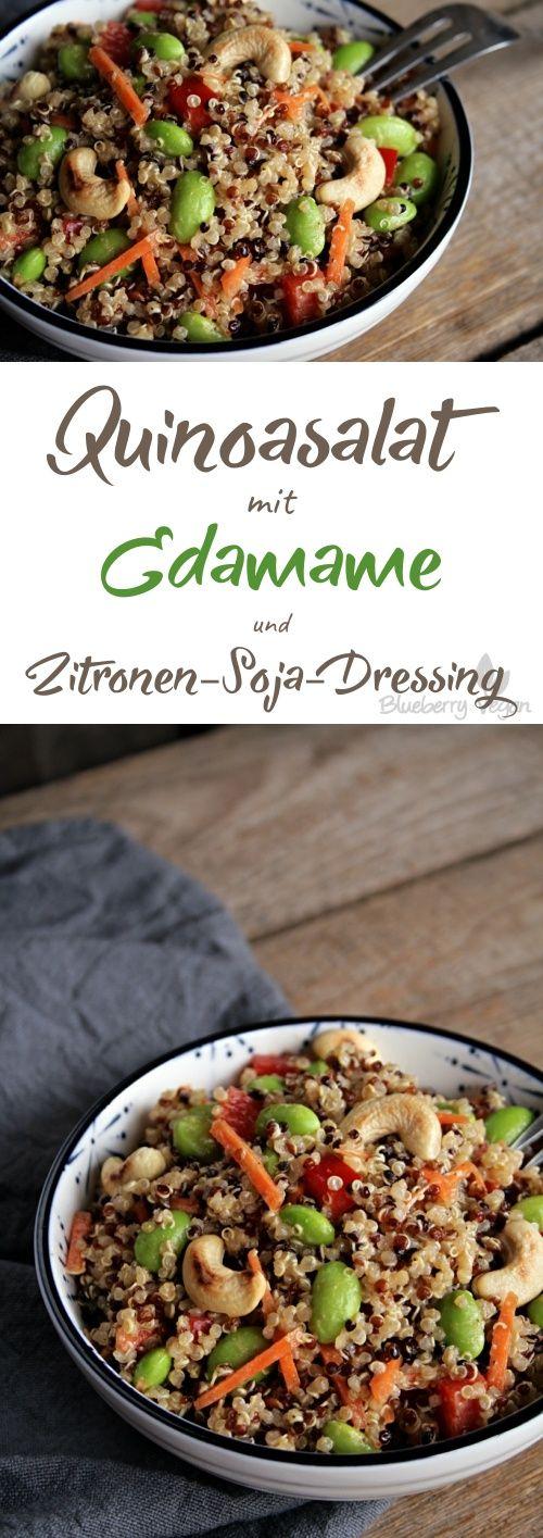 Quinoa Salat mit Edamame und Zitronen Soja Dressing vegan