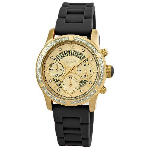 "JBW Women's JB-6243-F ""Venus"" Sport Gold Black Combo Designer Silicone Diamond Watch JBW. $175.00. Highest standard Quartz chronograph movement; .24 ctw of diamonds around the bezel; Water-resistant to 330 feet (100 M); Three functional chronograph sub dials; Gold hour and minute hands; Black trendy silicone band with buckle"