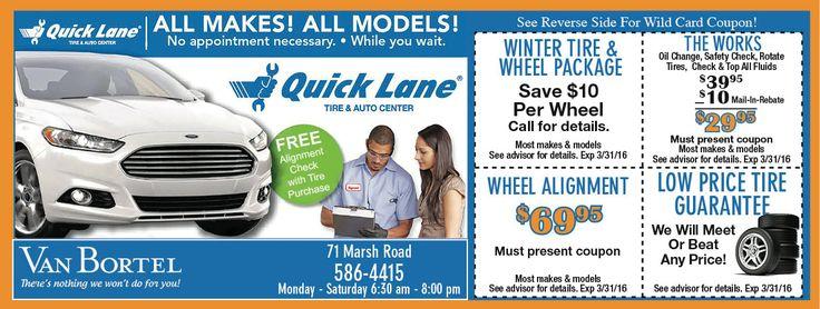 Quick lane coupons