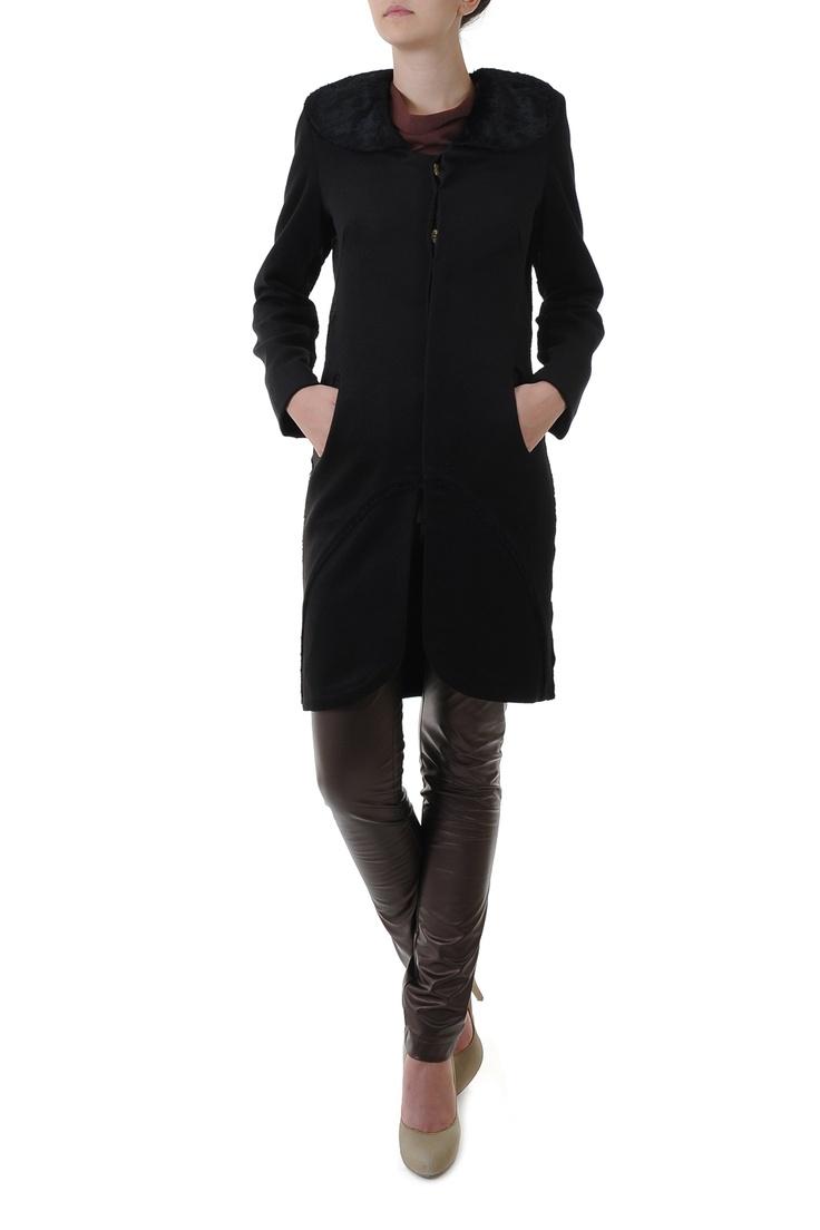 Palton negru casmir si blana bumbac