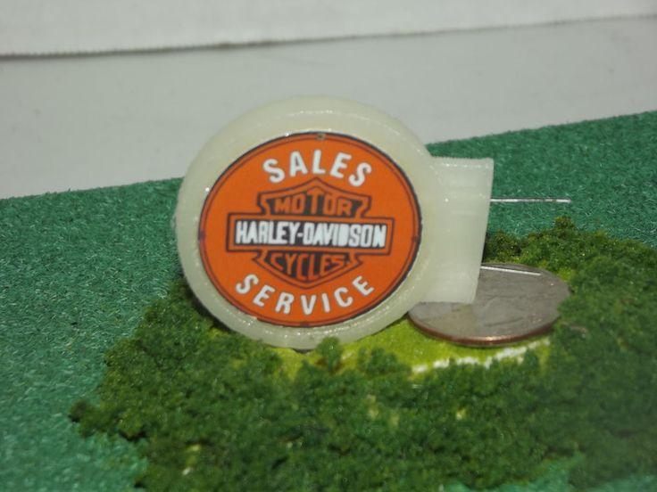 Scratch Built O Scale Trains Lighted  Harley Davidson Sales Service Sign #ScratchBuilt