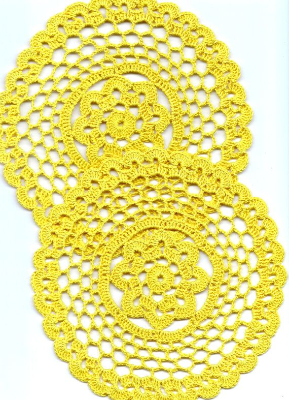 Two Crochet doilies, lace doily, table decoration, crocheted place mat, center piece,doily tablecloth, table runner, napkin, yellow