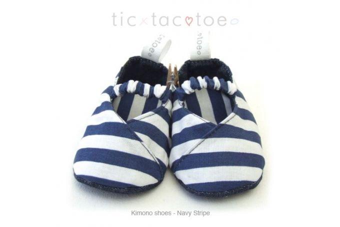 Kimono Reversible Shoes - Navy Stripe by Tic Tac Toe