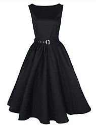 TS Vintage/Party Micro-elastic Sleeveless Knee-length Dress ( Cotton/Polyester )(1108125)