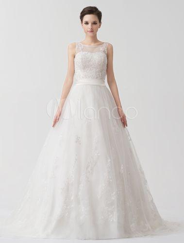 Ivoire Jewel a-ligne cou Sash Tulle Tribunal Train robe de la mariée mariage - Milanoo.com