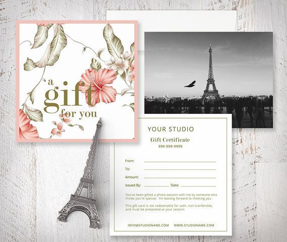 Gift Card Templates - Photo Marketing - Digital Design Files - photography gift certificate template