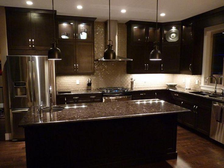 Beautiful Elegant Dark Kitchens Design Idea : Fascinating Elegant Dark Kitchens Glass Tile Backsplash Marble Countertop