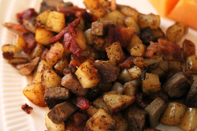 Brisket and Bacon Hash; comfort food at it's best.  Great recipe to use leftovers.  Oh, and you can't go wrong with bacon, either!  MyRecipeReviews.com