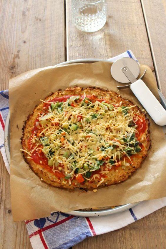 350 gram bloemkool 1 ei handjevol geraspte kaas 1 theelepel oregano halve theelepel knoflookpoeder snufje peper + ingredienten om de pizza te belegen zoals tomatensaus, ui, courgette en salami