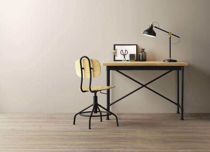 Kullaberg bureau grenen zwart bureaus grenen en ikea for Ikea accessoires bureau