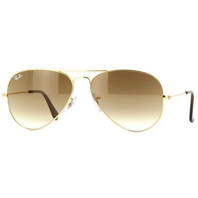 Óculos de Sol Unissex Ray Ban Aviador Metal Dourado Lentes Marrom - RB3025L00151 -