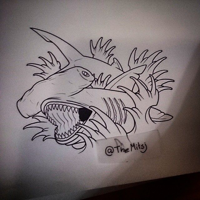 It's just an image of Clever Shark Tattoo Drawing