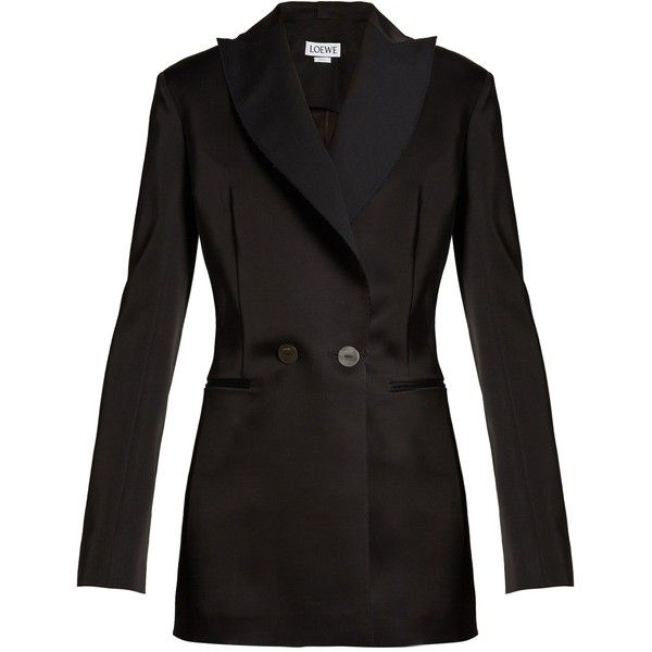 Loewe Peak-lapel double-breasted satin tuxedo jacket ($1,690) ❤ liked on Polyvore featuring outerwear, jackets, blazers, loewe, black, double breasted tuxedo jacket, tuxedo jacket, tux jacket, tuxedo blazer and peak lapel tuxedo jacket