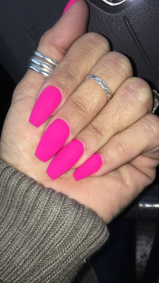 Matte Neon Pink Coffin Shape Hot Pink With Images Pink
