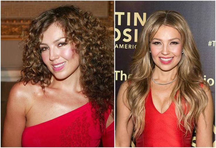 Singer Thalia's eyes color - hazel and hair color - light brown