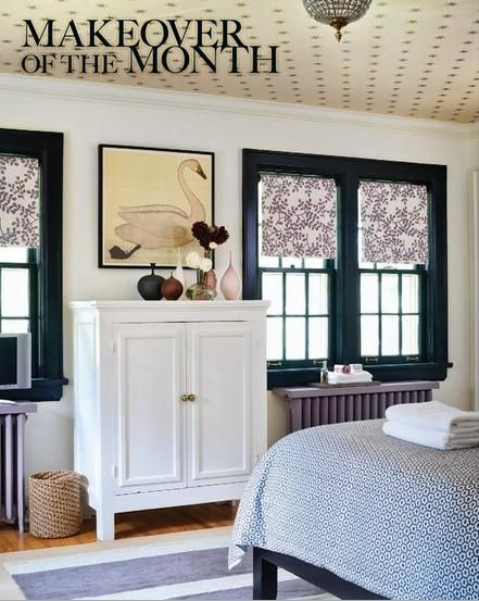 Love the wallpaper on ceiling & dark paint color trim w/ roman shades...well done.