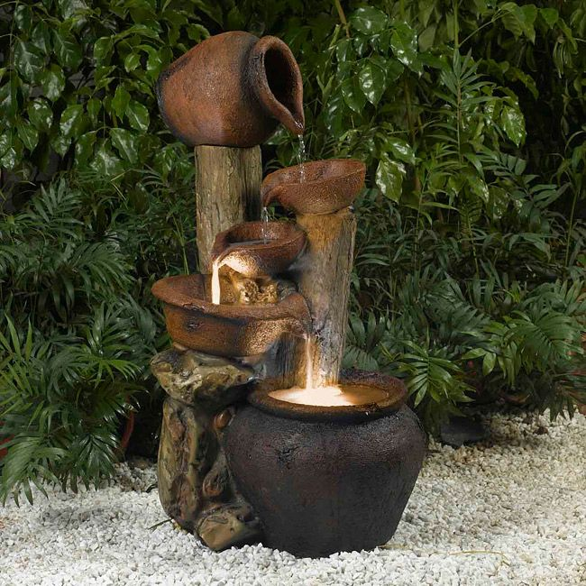 Jeco Pentole Pot Illuminated Water Fountain, Outdoor Décor