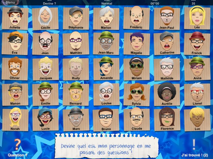 French Apps for Kids: Qui est-ce? A Guess Who game for learning adjectives to describe people