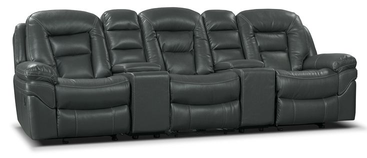 Create a warm and welcoming setting for your family with this plush, five-piece Leo reclining home theatre sectional. Swathed in Leath-Aire upholstery, this revolutionary leather-like fabric adds a stylish look to your home while remaining breathable. Each cushion is filled with high-density foam to provide a cozy space to unwind. Meanwhile, multiple seats recline so you can choose where to stretch out at the end of a long day. Get comfortable on this Leo Leath-Aire home theatre sectional.