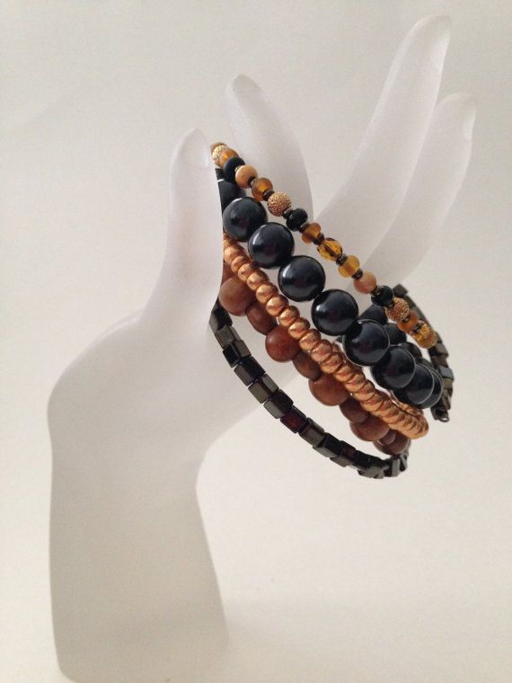 Black Tiger Wrap Bracelet by gemsbyellen on Etsy