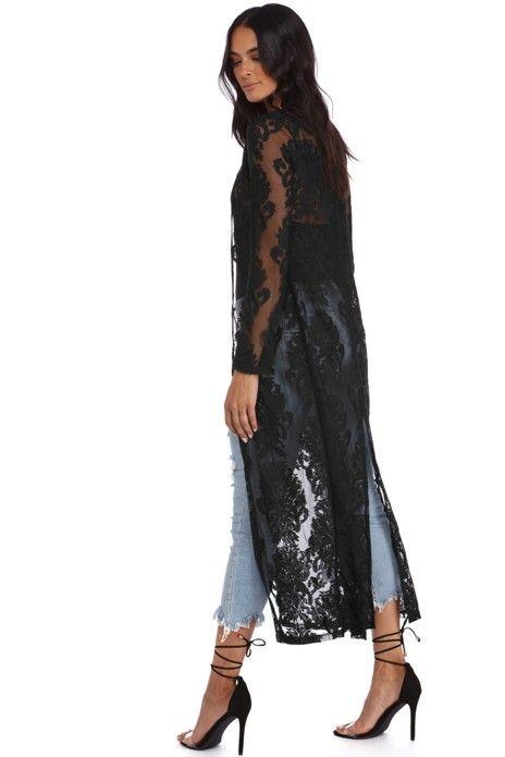 Black Sheer Embroidered Duster Black Lace Kimono Black