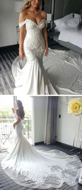 Off the Shoulder Mermaid Sweetheart Charming Long Bride Wedding Dress, BG51617