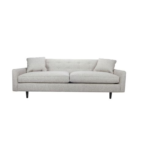 Stand up for style with the Maverick Sofa, a structural masterpiece where mid-century design meets a new level of comfort. Its neutral yet textured pebble-gray upholstery blends effortlessly with count...  Find the Maverick Sofa, as seen in the Your Mid-Century Holiday Home Collection at http://dotandbo.com/collections/styleyourseason-your-mid-century-holiday-home?utm_source=pinterest&utm_medium=organic&db_sku=92924