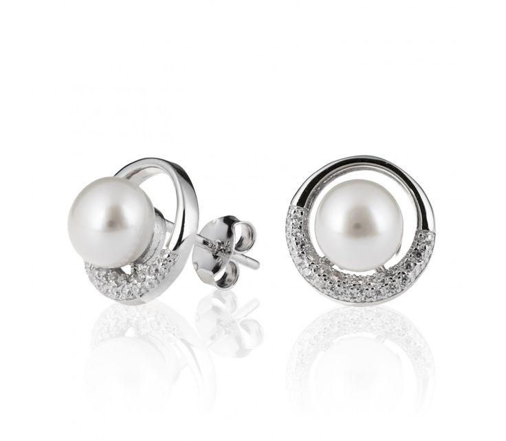 Jemné stříbrné náušnice kroužek s perlou a zirkony