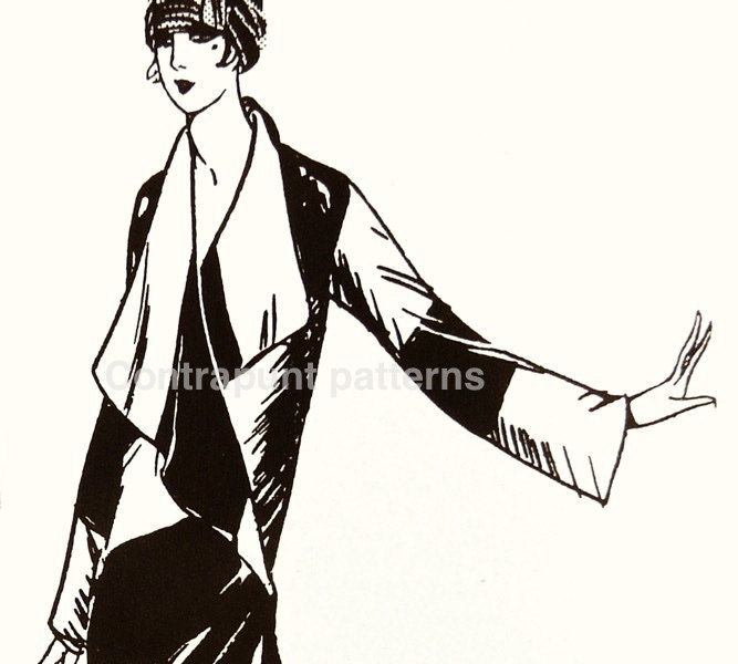Big collar and oriental cut in this 1920 stylish vintage sewing pattern coat. by ContrapuntPatterns on Etsy