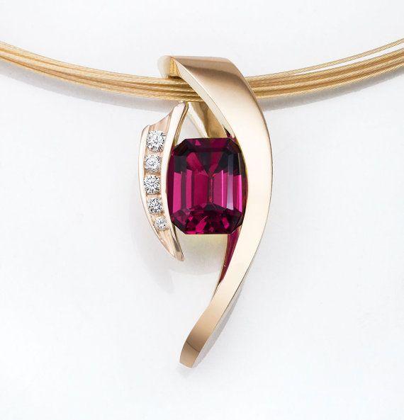 14k gold pendant set with rhodolite garnet and diamonds designed by David Worcester for VerbenaPlaceJewel...