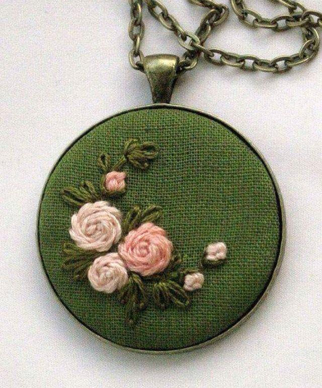 Nice circular embroidered locket!