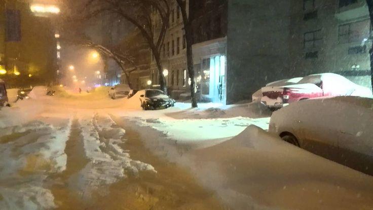 Snow Storm Blizzard 2016 New York City ( NYC) Glimpse of Manhattan Upper...