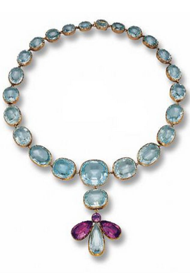 AN ANTIQUE ROSE GOLD, AQUAMARINE AND AMETHYST NECKLACE, 2ND QUARTER/19TH CENTURY...