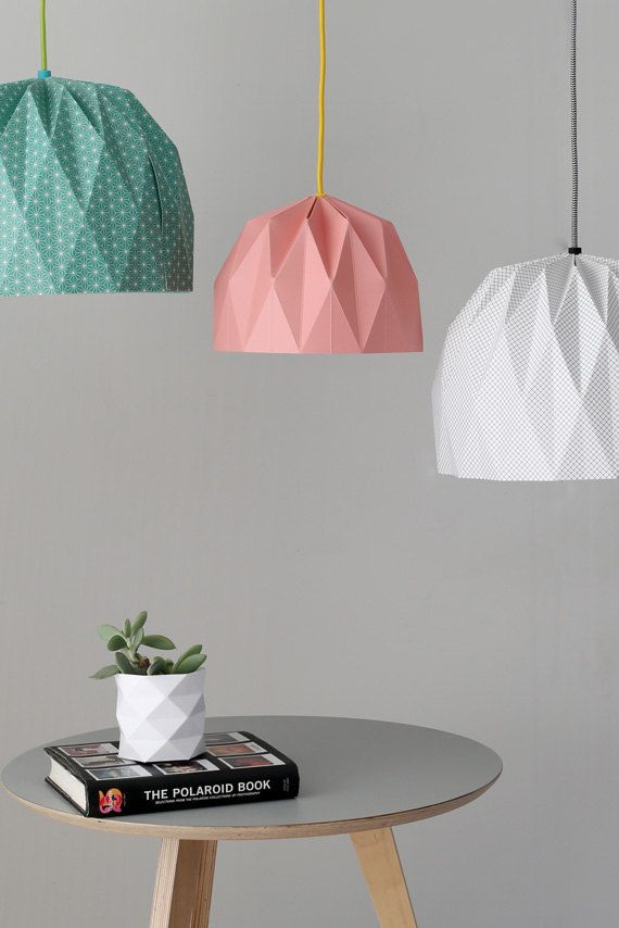 Large Origami Lampshade, Colored Hanging Lampshade, Paper Lampshade