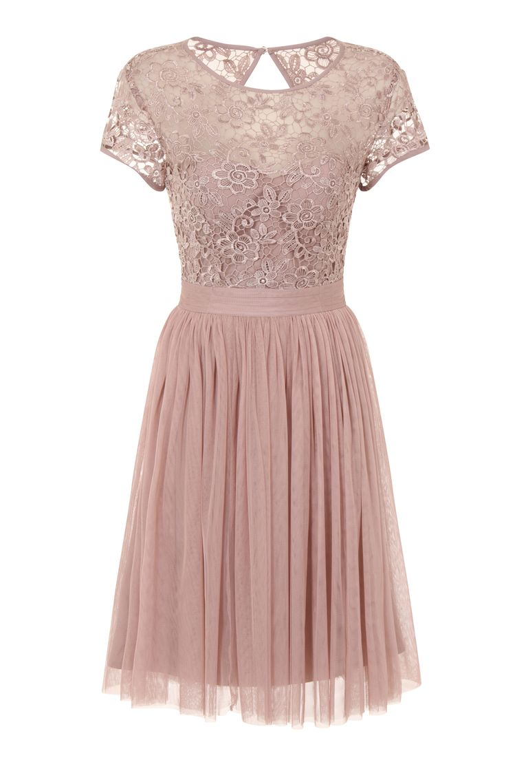 This pretty tulle dress from Little Mistress is perfect for bridesmaids or to wear as a wedding guest. Keep the accessories simple and let the shade do all the talking.