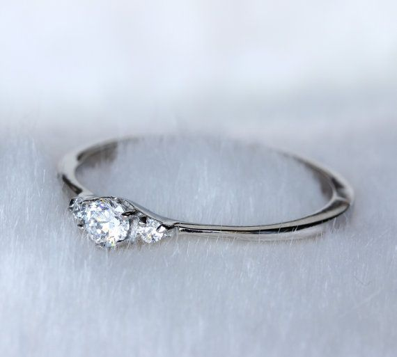Tiny Natural white sapphire Trilogy ring in by TheAladdinsCave