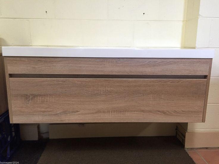 Ibiza 1200mm Timber Wood Grain OAK Wall Hung Bathroom Vanity Soft Close Drawer in NSW | eBay