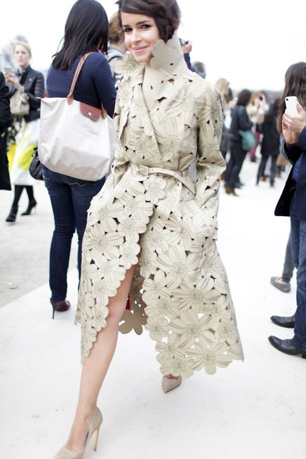 Street Style Statement Trench Miroslava Duma Editor Style Buro247 Cut Out Floral Embellished Trench Coat Belted Side Braid Nude Pumps Paris Fashion Week Womens Wear Daily WWD
