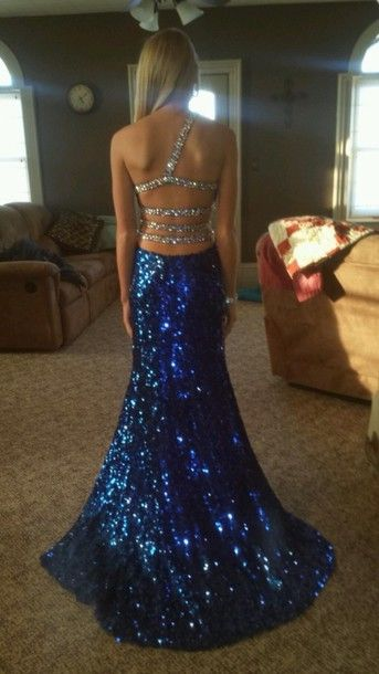 Sexy Backless Dark Royal Blue Cocktail and Party Dresses Long High Slit Beaded One Shoulder Prom Dresses 2014 $152.25