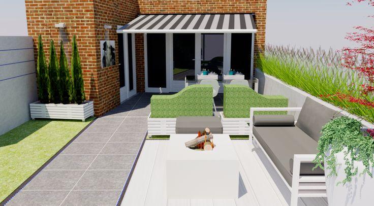 3D tuinontwerp voorbeeld moderne lounge tuin